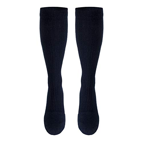 Truform Men's 15-20 mmHg Knee High Cushioned Athletic Support Compression Socks, Navy, Medium (Pack of 2)
