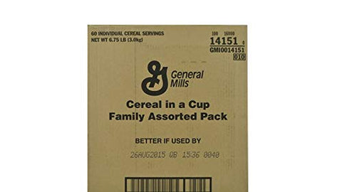 GeneralMills LR/D CEREAL IN/A CUP ASSORTED PACK 60 CASE 1.86 OUNCE, 1.86-ounces (Pack of60)