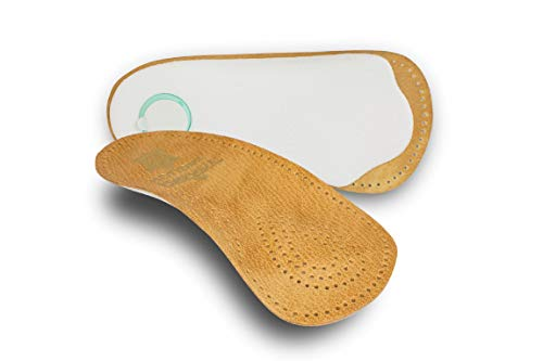 pedag Holiday Orthotic Inserts | 3/4 Length, Thin Leather, Ultra Light, Semi-Rigid Shoe Insoles with Metatarsal Pad and Heel Cushion, Tan, US W9