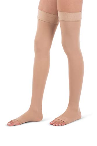 Jomi Compression, Unisex, Thigh High Collection, 30-40mmHg Surgical Weight Open Toe 341 (Medium, Beige)