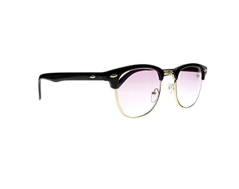 Retro Black Tortoise Horned Rim Tinted Lens Reading Glasses Nerd Geek Sun Readers Sunglasses (Black+Purple Lens, 1.5)
