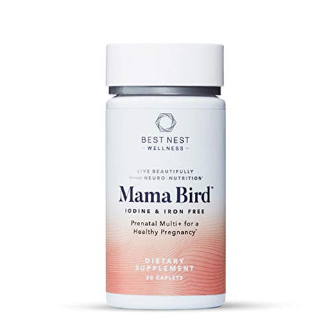 Mama Bird Prenatal Multi+, No Iodine & Iron, Methylfolate (Folic Acid), Methylcobalamin (B12), Natural Whole Food Organic Herbal Blend, Vegan, Once Daily, Immune Support, 30 Ct, Best Nest Wellness