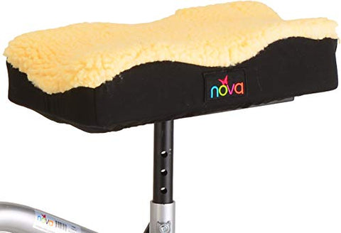 NOVA Medical Products Universal Knee Scooter Pad Cover, Thick Padded Fleece Faux Sheepskin Cushion Top, Easy to Fit & Secure on Most Knee Scooters & Knee Walkers, Washable, Beige