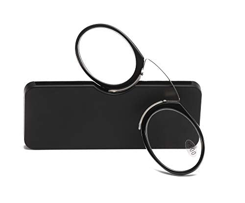 SOOLALA Women Men Go Everywhere SOS Pince Nez Style Nose Resting Pinching Portable Wallet Reading Glasses, Black, 1.5x