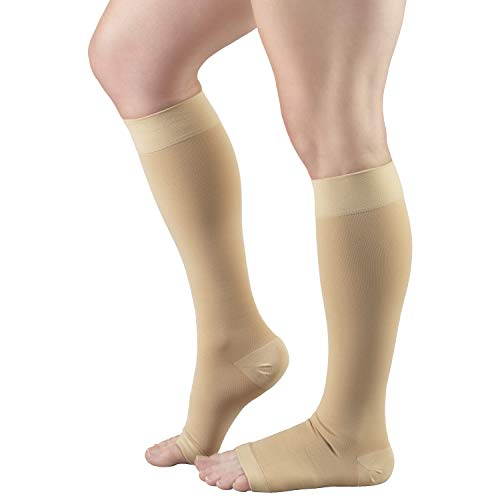 Truform Short Length 30-40 mmHg Compression Stockings for Men and Women, Reduced Length, Open Toe, Beige, Large