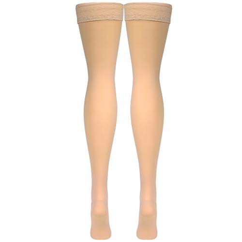 Truform Sheer Compression Stockings, 20-30 mmHg, Women's Thigh High Length, 30 Denier, Beige, Small