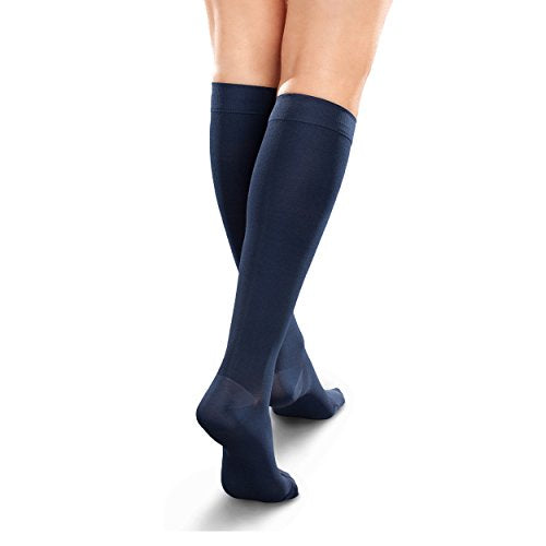 Therafirm Opaque Women's Knee High Support Stockings - Mild (15-20mmHg) Graduated Compression Nylons (Navy, Large Short)