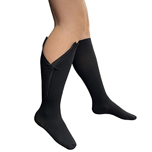 Starmace Closed Toe Zipper 20-30 mmHg Compression Socks Medical Varicose Veins Women Men Unisex Knee High Leg Wide Calf Stocking (Black, XL)