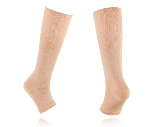 2 Pair Open Toe Compression Knee High Anti Fatigue Sock Calf Support Stocking (L/Xl, Beige + Black)
