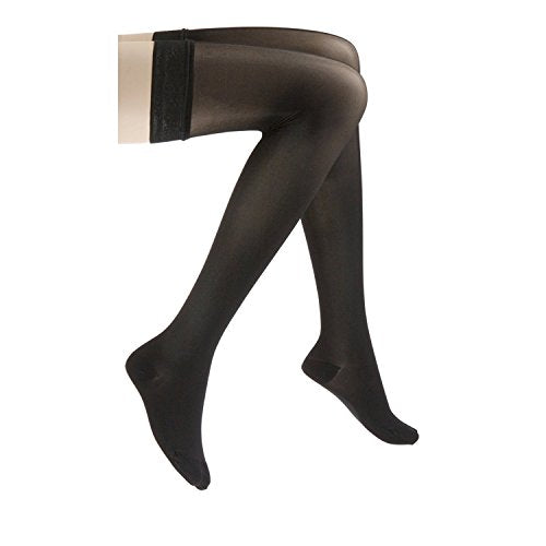 JOBST UltraSheer Thigh High with Lace Silicone Top Band, 15-20 mmHg Compression Stockings, Closed Toe, Small, Classic Black