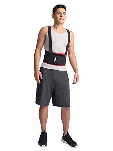 MAXAR Breathable Lower Back Support with Detachable Suspenders IBS-3000: Black Small