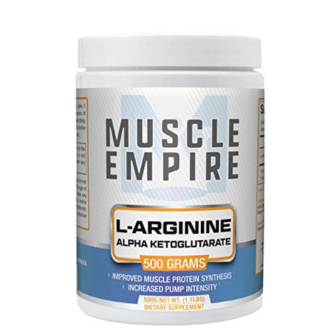 L-Arginine Alpha Ketoglutarate (AAKG) Powder - Nitric Oxide Booster & Improved Protein Synthesis - 500 Grams - Muscle Empire