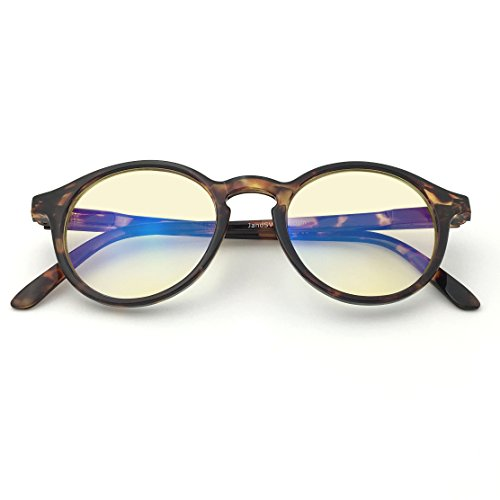 J+S Vision Blue Light Shield Computer Reading/Gaming Glasses - 0.0 Magnification - Anti Blue Light 100% UV Protection - Low Color Distortion Lens, Round Glossy Tortoise Frame