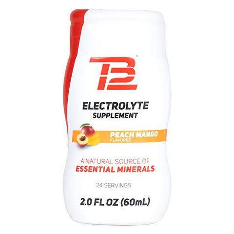 TB12 Electrolyte Supplement for Optimized Hydration - Liquid Drops for Water, Gluten-Free, Sugar-Free, Vegan, with Magnesium, Potassium, 24 Servings (Peach Mango Flavor)