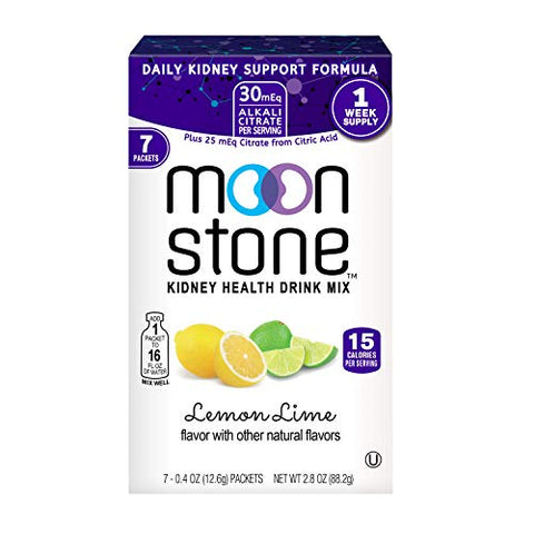 Moonstone Nutrition | Electrolytes Powder Packets Designed by Doctors to Rapidly Rehydrate, Balance PH, Kidney Health Supplement, Magnesium, Potassium, Vitamin B6, No Added Sugar | 7 Pk Lemon Lime