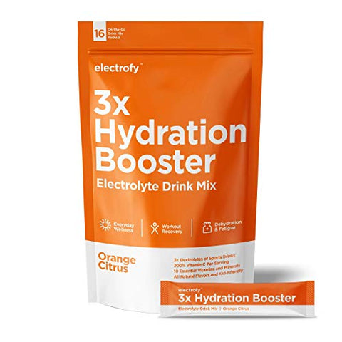 Electrofy 3X Hydration Booster 16 Pack | Orange Citrus | Keto Electrolyte Drink Powder Stick Packets Recovery Mix Hydration Multiplier | Paleo Friendly, Vegan, Gluten Free, Soy Free, Dairy Free