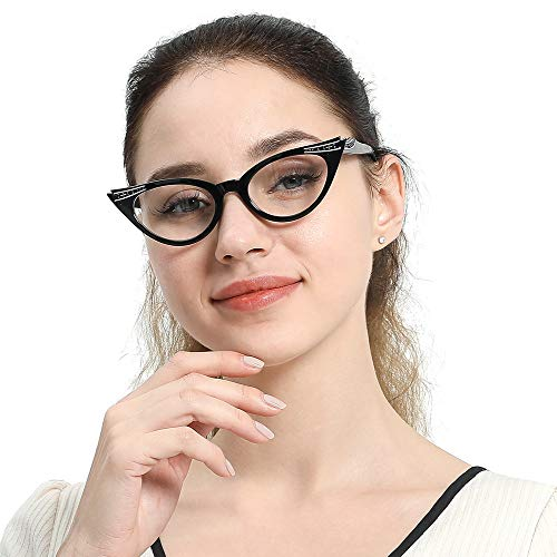 SOOLALA Womens Vintage Cateyes 80s Inspired Fashion Reading Glasses with Rhinestones, Black, 2.0x
