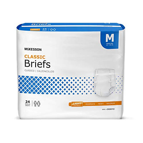 McKesson Classic Incontinence Brief M Contoured, BRBRMD, Light, 96 Ct