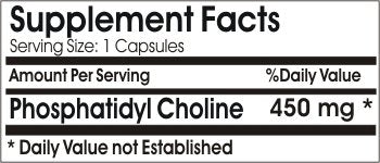 Phosphatidyl Choline 450mg ~ 200 Capsules - No Additives ~ Naturetition Supplements