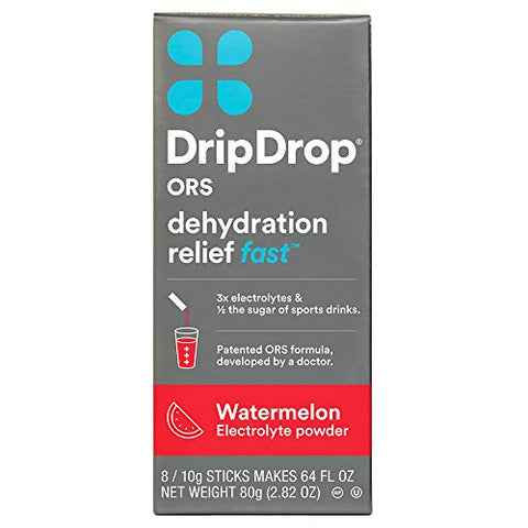 DripDrop ORS Electrolyte Hydration Powder Sticks, Watermelon, 10g Sticks, 8 Count