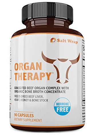 Organ Therapy - Grass Fed Beef Organ Meat Complex Supplement with Organic Bone Broth Concentrate (Beef Liver, Heart, Kidney and Bone Broth Capsules with BioPerine), 90 Capsules