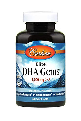 Carlson - Elite DHA Gems, 1000 mg DHA, Wild Caught, Sustainably Sourced, Brain Function & Healthy Vision, 60 Softgels