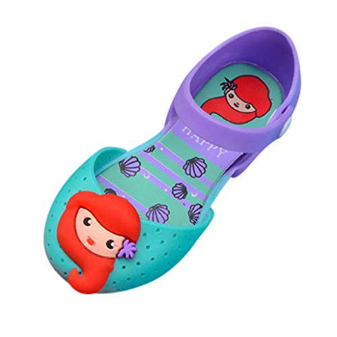 heavKin Children's Baby Girls Cartoon Sandals Soft Sole Waterproof Jelly Shoes Breathable Hole Shoes (Green, 4.5-5Years)