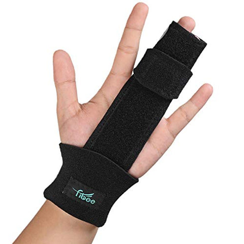 2 Finger Splint Trigger Finger Splint, Adjustable Two Finger Splint Full Hand and Wrist Brace Support, Metal Straightening Immobilizer Treatment for Sprains, Mallet Injury, Arthritis(S/M)
