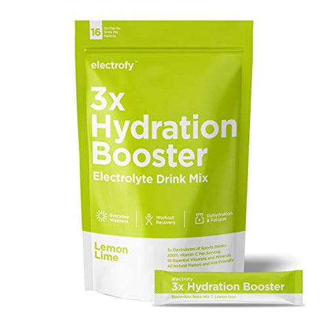 Electrofy 3X Hydration Booster 16 Pack | Lemon Lime | Keto Electrolyte Drink Powder Stick Packets Recovery Mix Hydration Multiplier | Paleo Friendly, Vegan, Gluten Free, Soy Free, Dairy Free