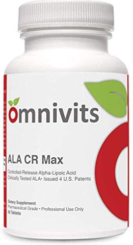Omnivits ALA CR Max | Controlled-Release Alpha Lipoic Acid (Thioctic Acid)600mg & Biotin | Fat-Soluble & Water-Soluble Antioxidant Supplement | 60 Tablets