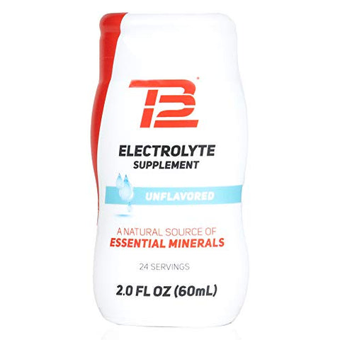 TB12 Electrolyte Supplement for Optimized Hydration - Liquid Drops for Water, Gluten-Free, Sugar-Free, Vegan, with Magnesium, Potassium, 24 Servings (Unflavored)