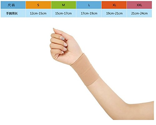Black/Skin Forearm Tattoo Cover Up Brace Wrist Support Compression Sleeves Carpal Tunnel (1 pcs) (L, Skin)