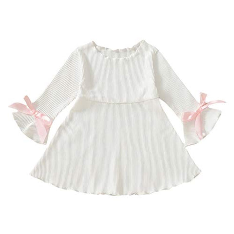 heavKin-Clothes ?6M-4T? Children's Baby Girls' Knee-Length Skirt O-Neck Flared Sleeve Solid Color Pit Strip Dress