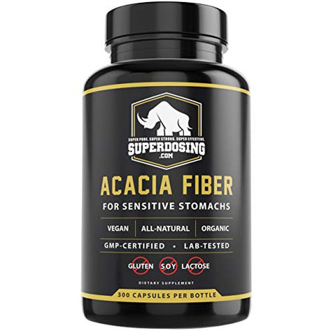 IBS Friendly, Organic Acacia Senegal Fiber Capsules 300 Pack. Natural Soluble Fiber Supplement Pill Promotes Gut Health. Vegan Prebiotic Ideal for Sensitive Stomachs. Stop Diarrhea and Constipation