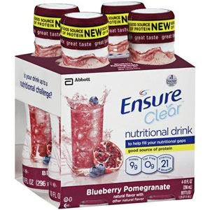 Ensure Clear Blueberry Pomegranate, Ready-to-Drink, 10oz, Retail 56500 Qty 4 Per Package