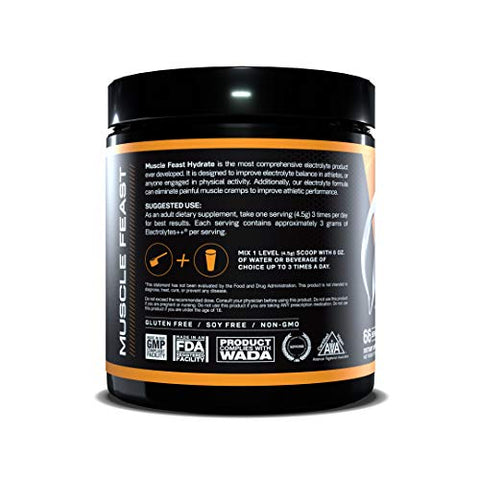 MUSCLE FEAST Hydrate Electrolyte Powder, Keto, Sugar Free, Zero Calories, Eliminate Muscle Cramping, Made with Electrolytes++TM (300 Gram, Tangerine)