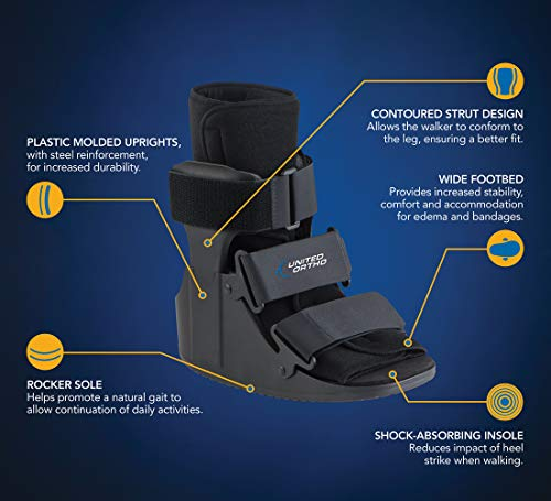 United Ortho Short Cam Walker Fracture Boot, Large, Black