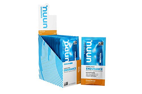 Nuun Endurance | Workout Support | Electrolytes & Carbohydrates (Citrus Mango, 12 Servings - Sachets)