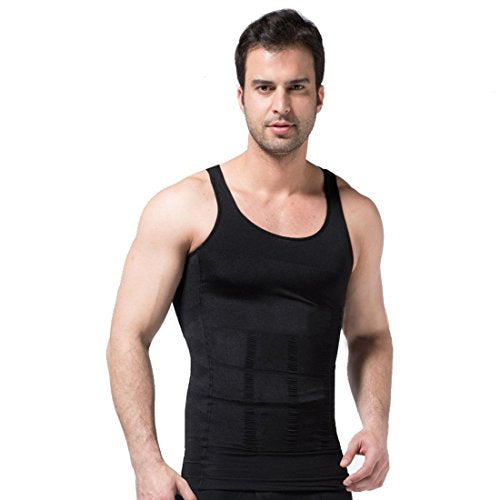 Frogwill Mens Posture Correction/Support/Pain Relief Slimming Body Vest Shirt (XXL, Black-New)
