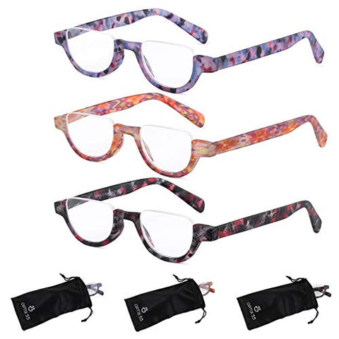 Reading Glasses Women | 3 Pack Fashion Readers Half Moon Frames with Spring Hinge Quality Reading Eye Glasses Multi Color Pattern Variety Pack, Prescription Strength + 1.5