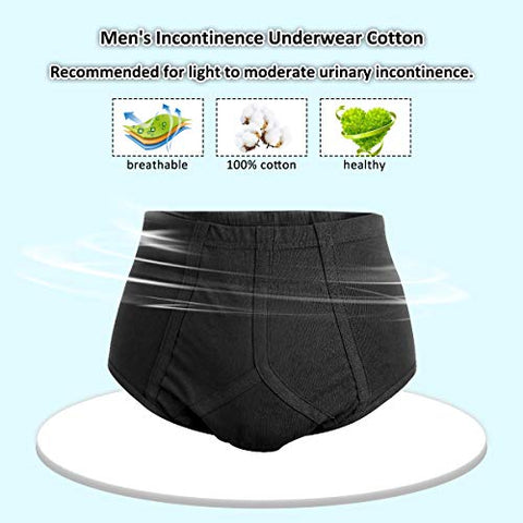 2-Pack Mens Incontinence Underwear Cotton Regular Absorbency Reusable Washable Urinary Incontinence Briefs for Prostate Surgical, Elder, Long Driving