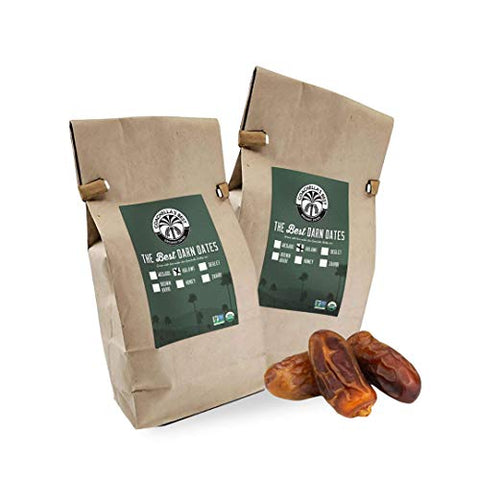 Two Pack Organic Halawi Dates 1 lb bags (2 lb total) California grown GMO free Coachella Valley Date Farm US Shipped No Sugar Added two pound fruit snack