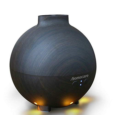 Aromacare Large Essential Oil Diffuser for Aromatherapy 600ml, Aroma Cool Mist Humidifier Globe- Ultra Quiet- Dark Wood Grain- Filter Free- Last Overnight