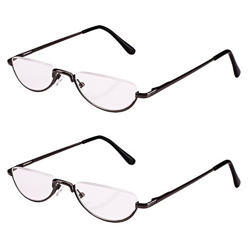 Bestum 2 Pack Reading Glasses for Mens and Womens - Comfortable Metal Frame with Spring Hinge - Pack of 2 Readers (2 Pack Grey, 1.50)