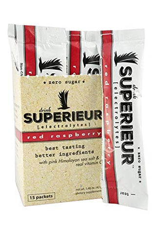 Superieur Electrolytes - Electrolyte Hydration Powder,Red Raspberry, 15 Packet(s) - Keto Friendly, Non-GMO, Zero Sugar, Vegan