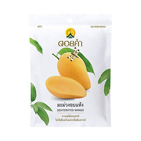 Wholesale 40 Packs of Dehydrated Mango, Made From Real Mango, Delicious Snack From Doi Kham Brand, Royal Project Product from Thailand. No Artificial Color and Flavor Added. (40 g/ pack)