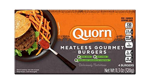 QUORN Meatless & Soy Free Gourmet Burgers, 11.3 Oz ( Pack of 12)