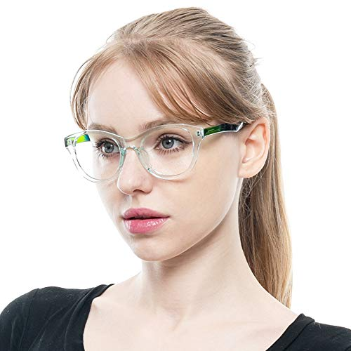 SOOLALA Lovely Hit Color Oversized Clear Lens Eye Glasses Frame Wide Reading Glasses, Green, ClearLens