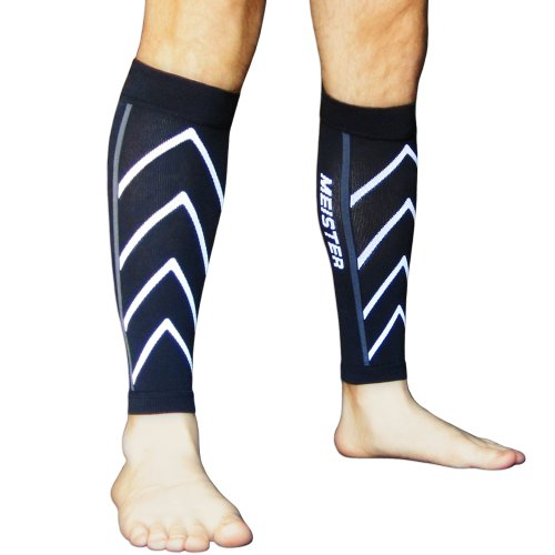 Meister Graduated 20-25mmHg Compression Running Leg Sleeves for Shin Splints (Pair) - Black - X-Large