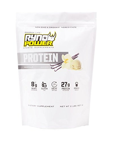 Ryno Power All-Natural, Gluten Free Protein - 100% Whey Protein Blend & No Fillers - Non GMO (Vanilla)